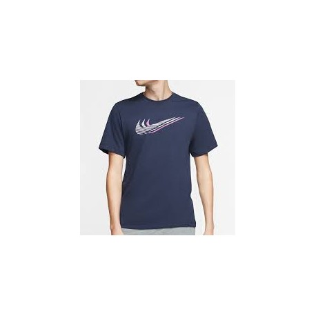 NIKE SS TEE SWOOSH M SILVER/NAVY